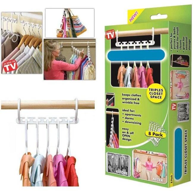 Вешалка для одежды универсальная 8 в 1 Wonder Hanger 6732, белый