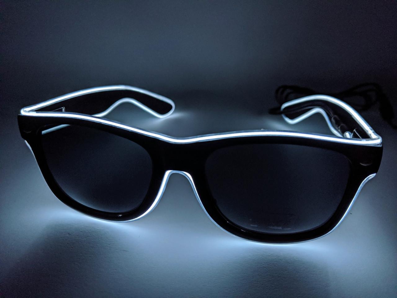 Светящиеся светодиодные неоновые очки для вечеринок белые