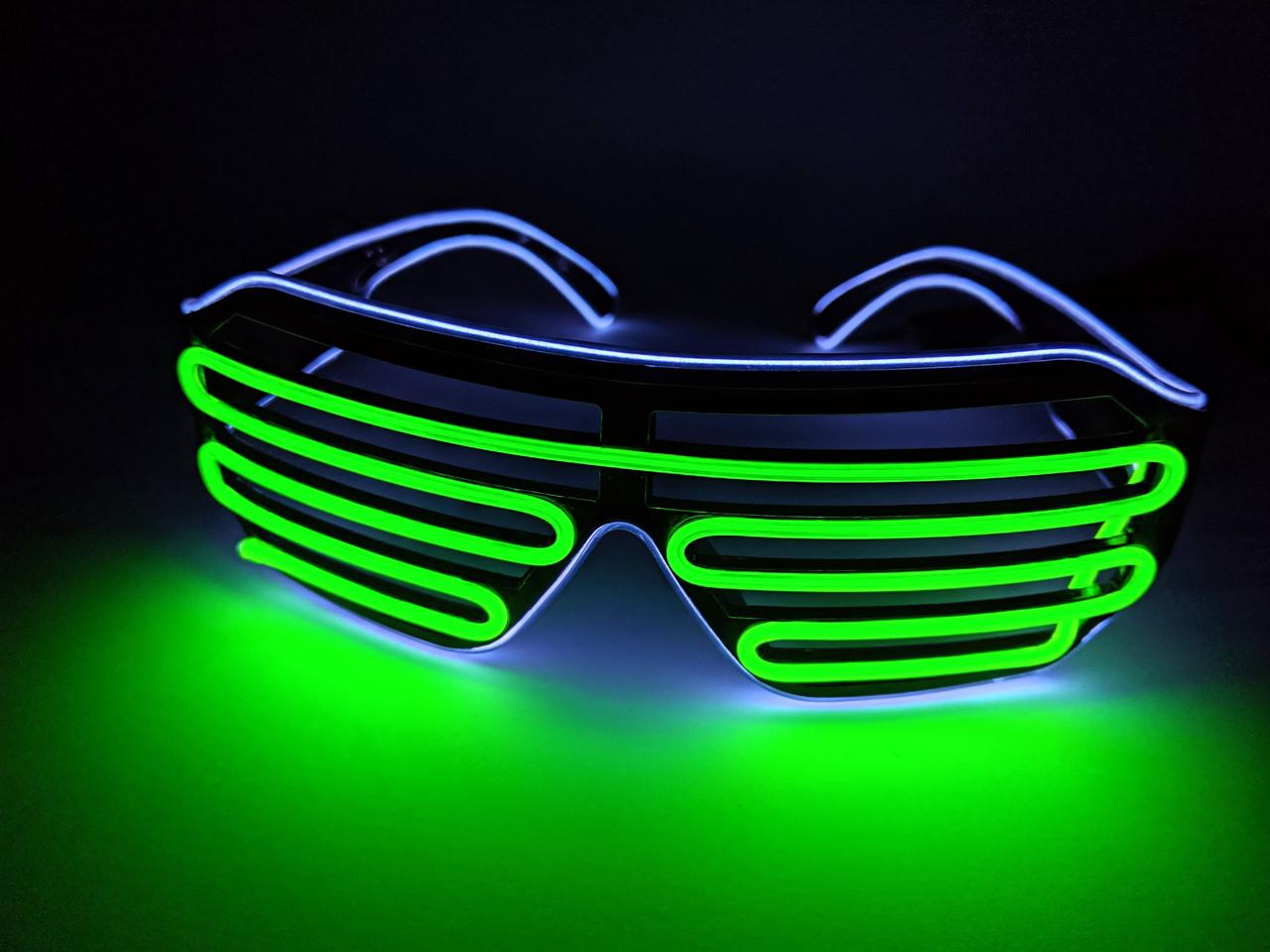 Светодиодые очки светящиеся в темноте зеленый голубой