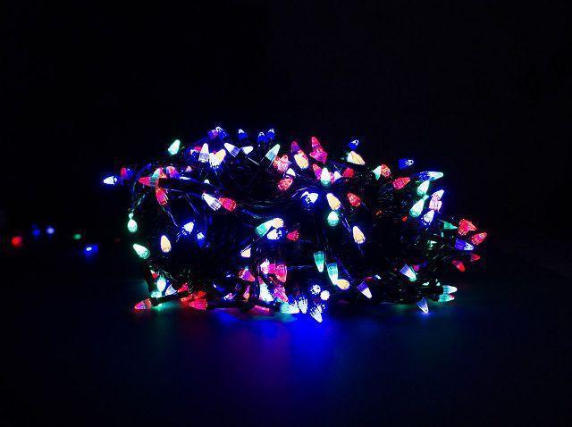 Гирлянда чёрный шнур 400 Led конусные лампочки, мультицвет
