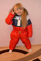 Детский теплый комбинезон с натуральным мехом в расцветках АШ180