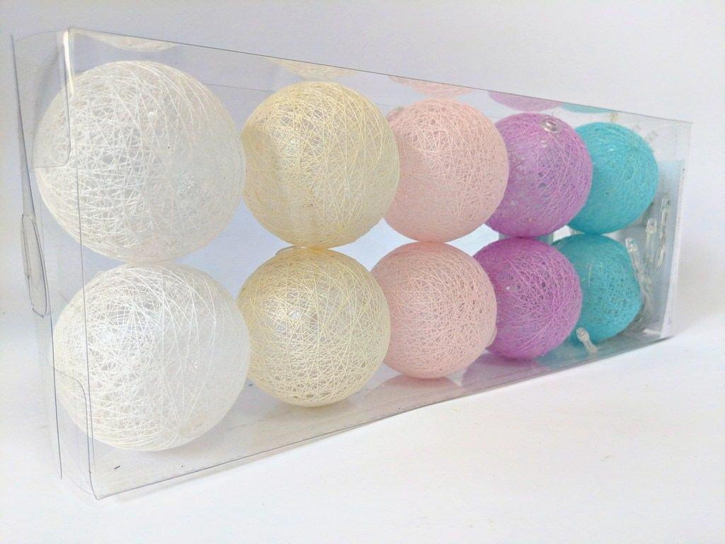 Гирлянды декоративные Cotton Balls 10led, диам 6см, длина 180см на батарейках АА #1