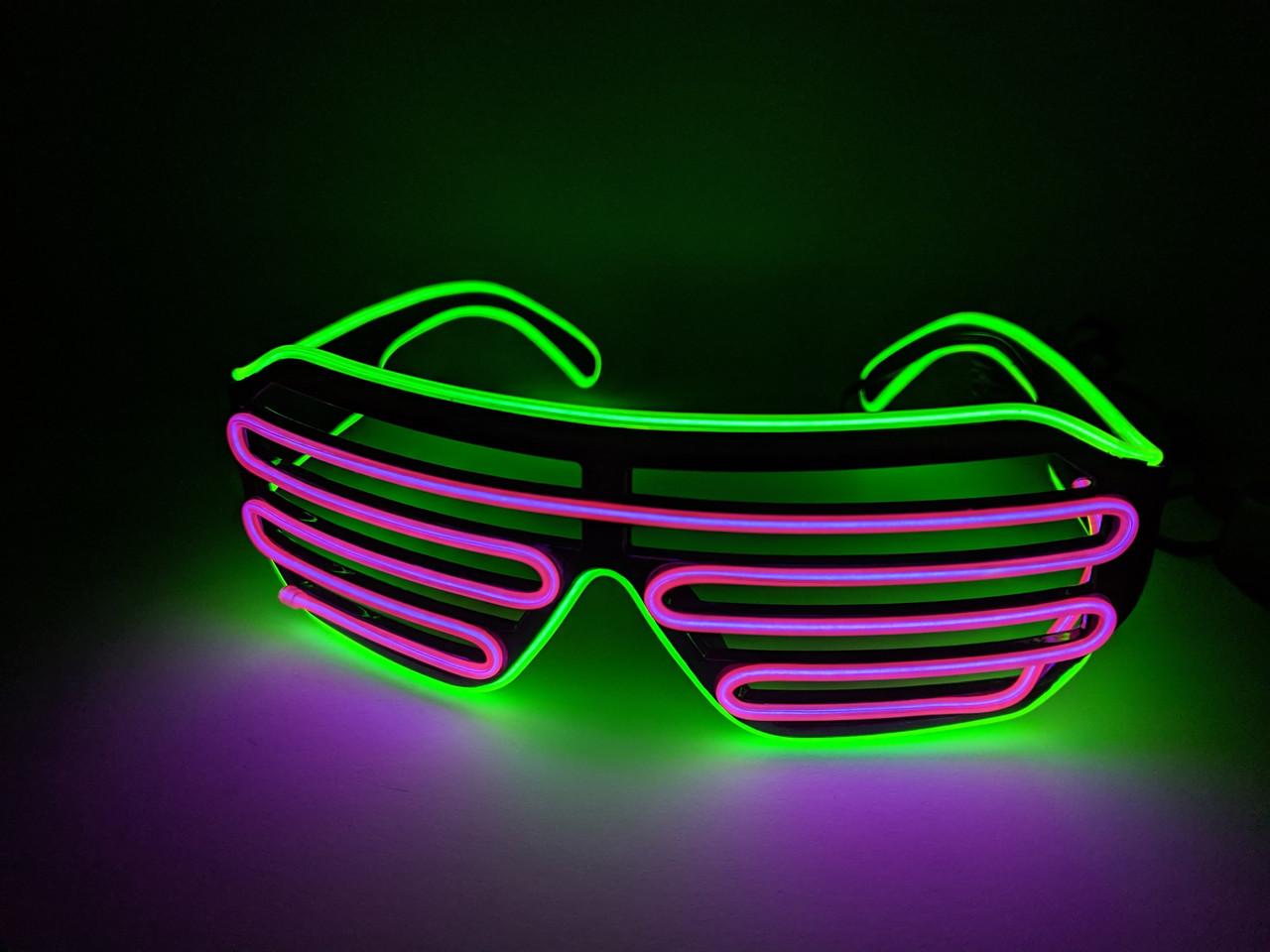 Светодиодые очки светящиеся в темноте зеленый фиолетовый