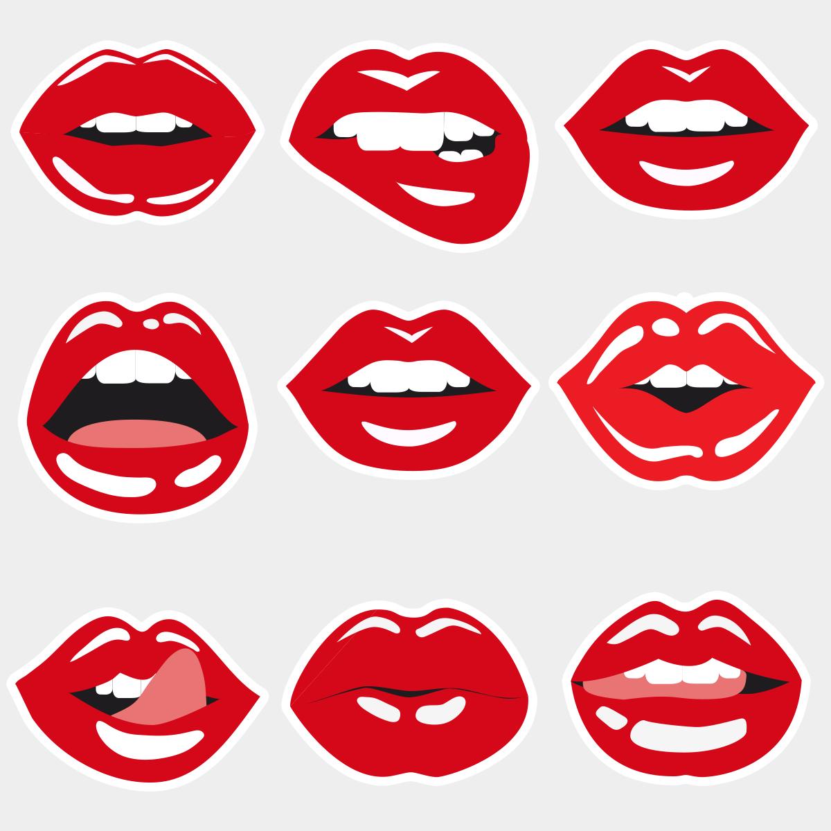 Фотобутафория Красные губы 9 элементов