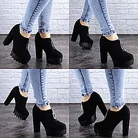 Женские туфли на каблуке черные Saki 2094 Эко-замш . Размер 37 - 24 см. Обувь женская