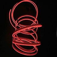 Гибкий светодиодный Неон для автомобиля 5м, 12V  красный