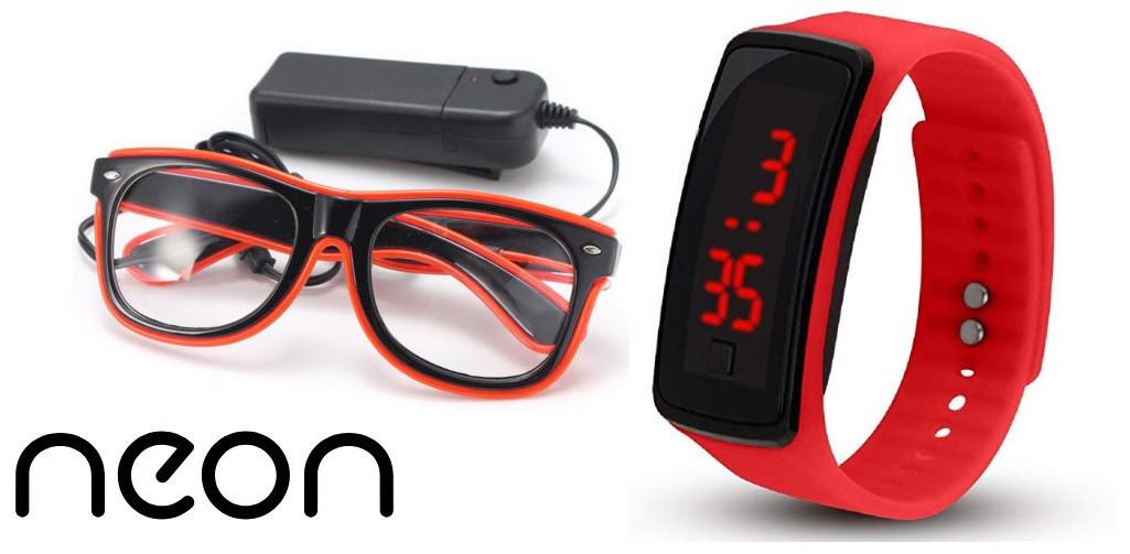 Очки NEON  прозрачные El Neon red + Часы