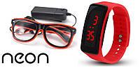 Очки NEON  прозрачные El Neon red + Часы, фото 1