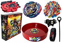 Набор в Подарочной Коробке Арена твердая + Бейблейд Карающий Джокер Бейблейд (Kill Joker Judgment) с пусковым устройством + Buster Xcalibur X4 B-120