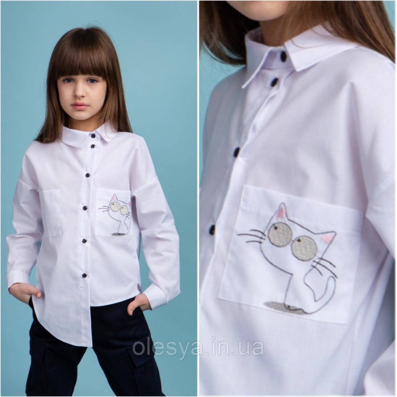 Блуза школьная для девочек Catlinn ТМ BrilliAnt Размеры 128- 158 цвет белый