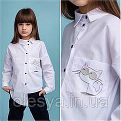 Блуза школьная для девочек Catlinn ТМ BrilliAnt Размеры 134, 146 цвет белый
