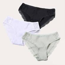 Хлопковые трусы женские разных цветов, XXL (52 размер) - 3шт. 95% cotton, 5% elastan