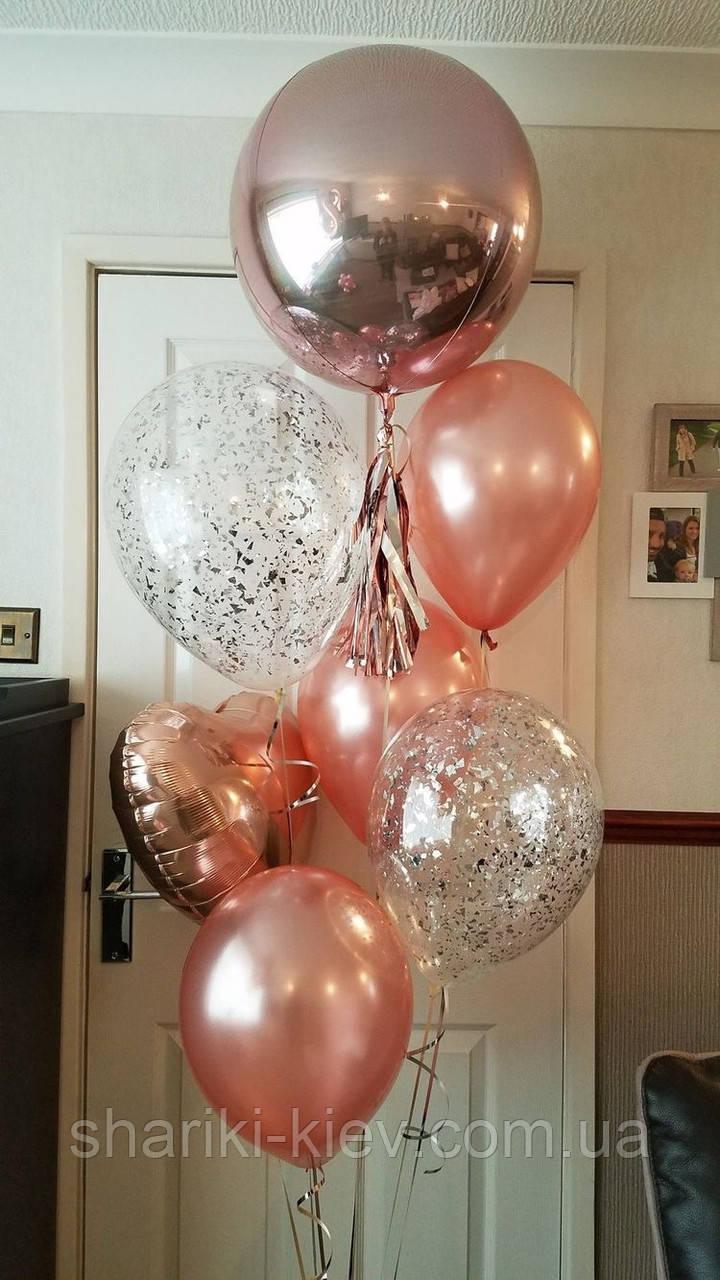 Связка из воздушных шаров для девушки в подарок на День рождения с сердцем и сферой в розовом золоте