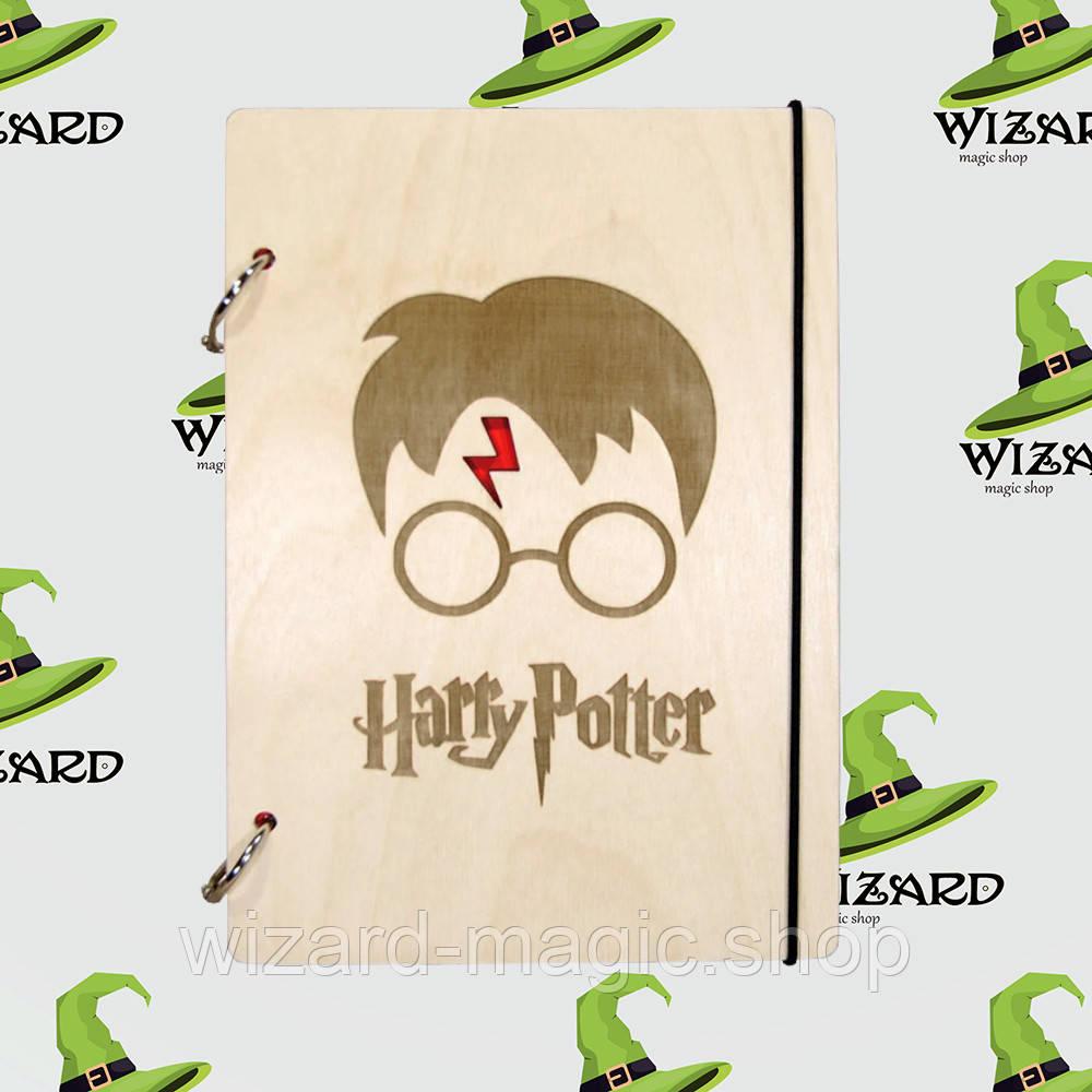 Деревянный блокнот В6 Гарри Поттер (светлое дерево)