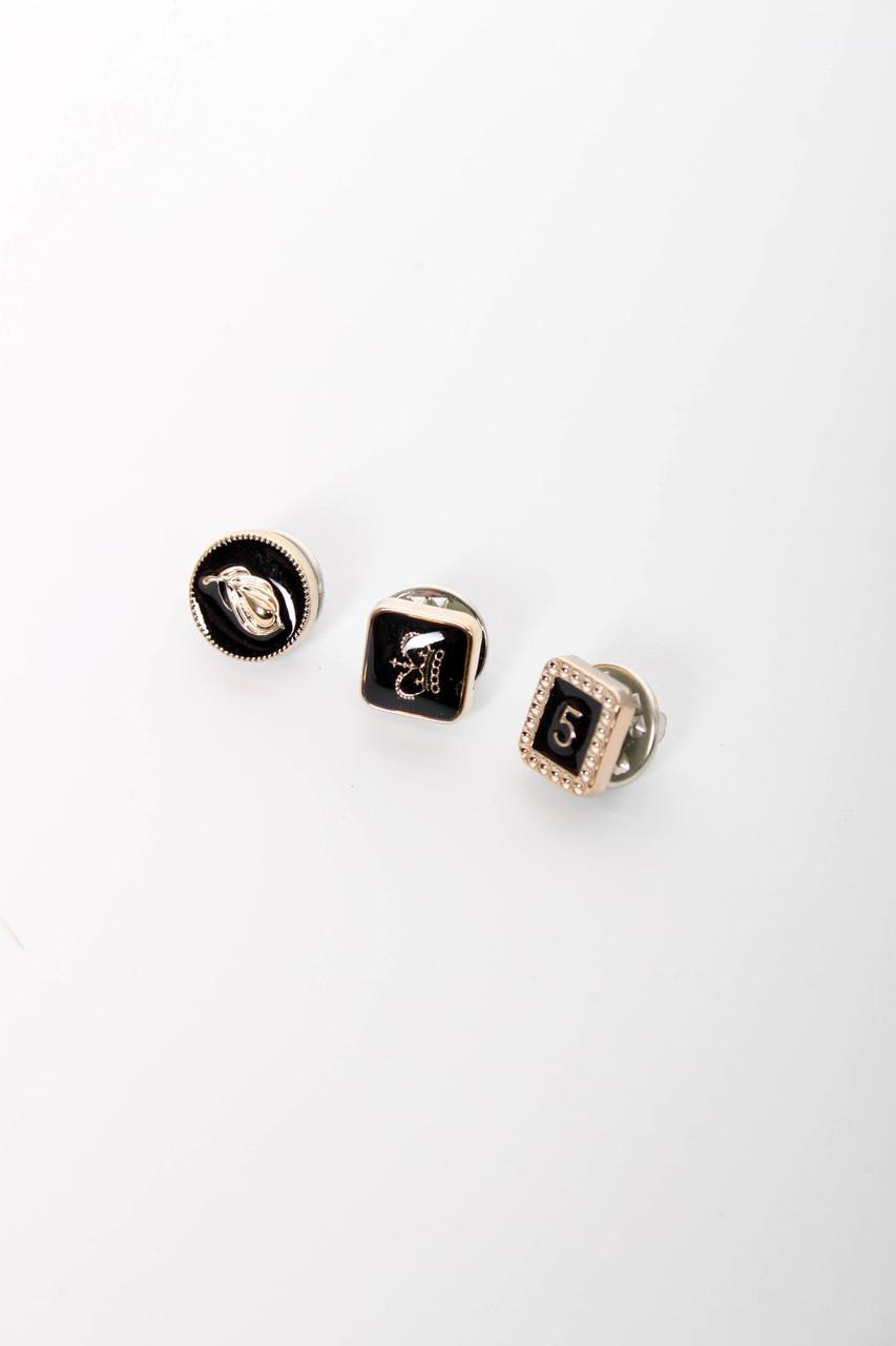 Брошки FAMO Набор брошек Мас черный Длина 1.2/1/1(см) / Ширина 1.2/1/1(см) (X29-3)