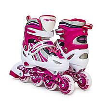 Детские ролики Power Champs. розовый цвет, размер 29-33