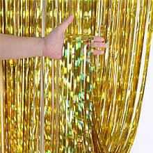 Занавеска штора  из фольги  золото радужное1м х 2м