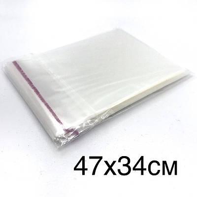 Поліпропіленовий пакет з клейкою стрічкою 47*34см, в закритому виді 42*34см.