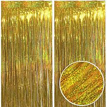 Дождик штора из фольги для фотозон золото голограмма  1*2 м