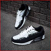 Мужские качественные Черные с белым Кроссовки из кожзама, повседневные, спортивные, для зала
