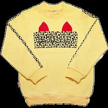 Детский джемпер для девочки DG-19-36 *Киттибум*  (размеры 104,110,116. Цвет желтый,молочный,розовый)