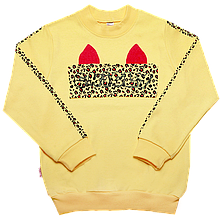 Дитячий джемпер для дівчинки DG-19-36 *Киттибум* (розміри 104,110,116. Колір жовтий,молочний,рожевий)