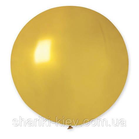 Шар латексный гигант 55 см. с гелием золотой, фото 2