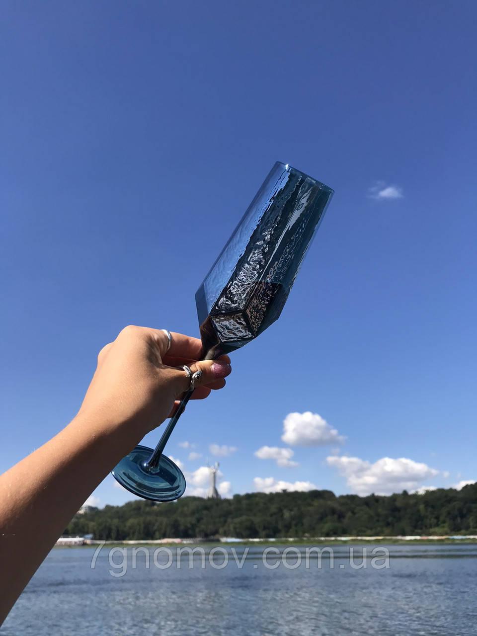 Набор 6 бокалов для шампанского из цветного стекла Кристалл морская волна 200 мл