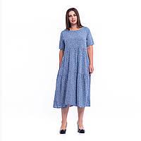Батальна жіноча літня сукня синього кольору в дрібний білий квітковий принт 9108 M/XL