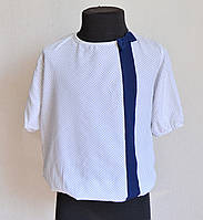 Детская школьная блузка для девочек 5-8 лет, белого цвета, фото 1