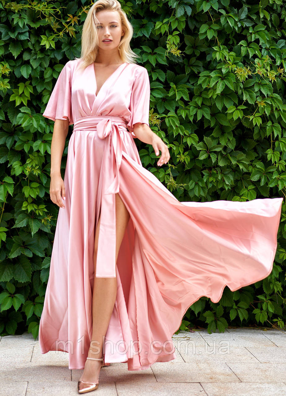 Женское коктейльное шелковое платье-макси с разрезом (Ариада jd)