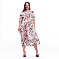 Легка літня сукня з пастельних кольорів батал 9108 штапель із флористичним принтом L/XL