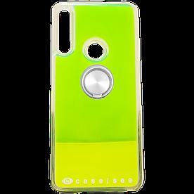 Неоновый чехол-аквариум для Huawei Honor 9X силиконовый с кольцом Aqua Series, зеленый с желтым