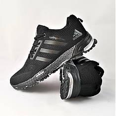 Кроссовки мужские черные в стиле Adidas (адидас) из текстиля. Кросівки чоловічі чорні