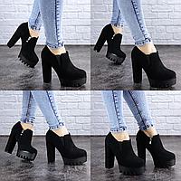 Женские туфли на каблуке черные Chimuelo 2091 Эко-замш . Размер 37 - 24 см. Обувь женская