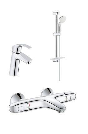 Набор смесителей для умывальника, ванны и душевая стойка Grohe GRT1000+Eurosmart 34101TM, фото 2