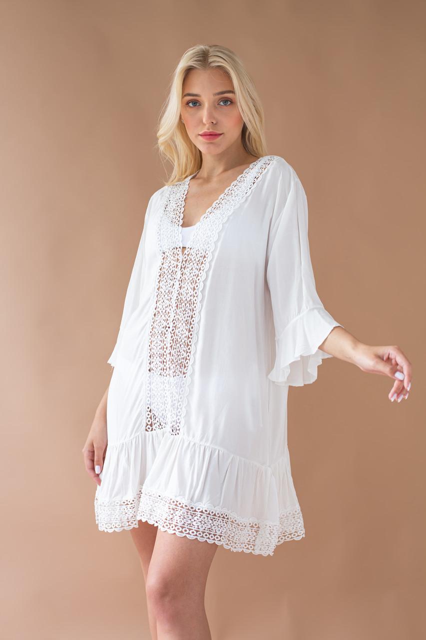 Платье-туника пляжная с кружевом  мини ОПТ и Дроп