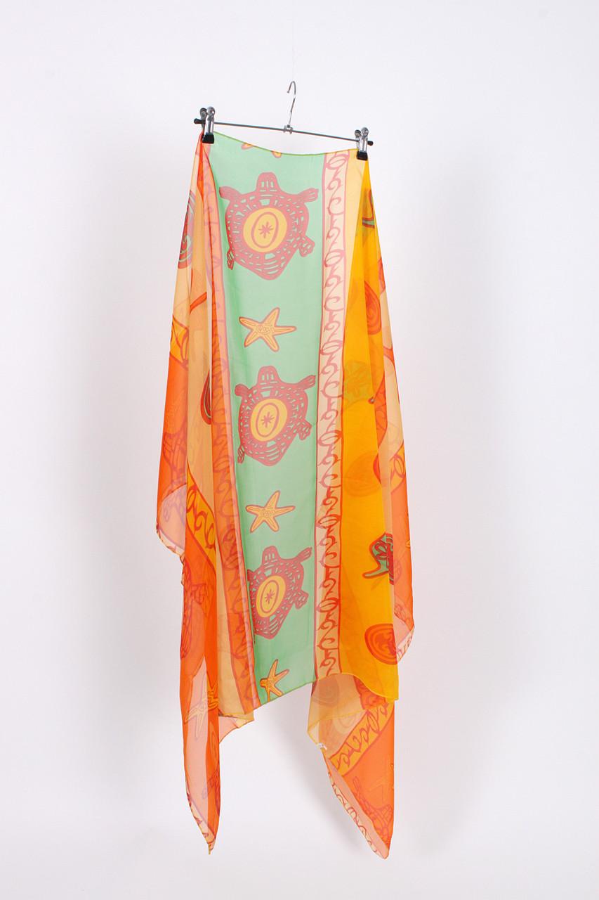 Парео пляжное оранжевый цвет с оригинальным принтом ОПТ и Дроп