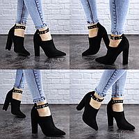 Женские туфли на каблуке черные Sofia 2092 Эко-замш . Размер 37 - 24 см. Обувь женская