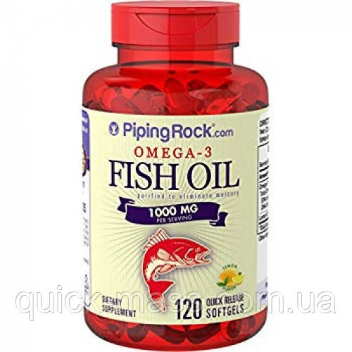 Омега-3 Piping Rock Omega-3 Fish Oil 1000 мг 120 Softgels