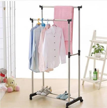 Подвійна стійка вішалка для одягу і взуття Double-Pole Срібляста (iajs1085371897), фото 2