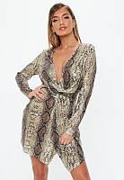 Фирменное платье с экзотичным принтом Missguided XS/42 Бежевое (1044428568)