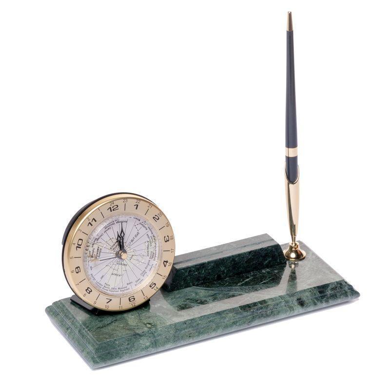 Підставка настільна для ручки і візиток з годинником 24х10см BST 540048 Мармурова