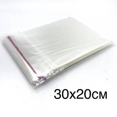 Поліпропіленовий пакет з клейкою стрічкою 30*20см, в закритому виді 25*20см.