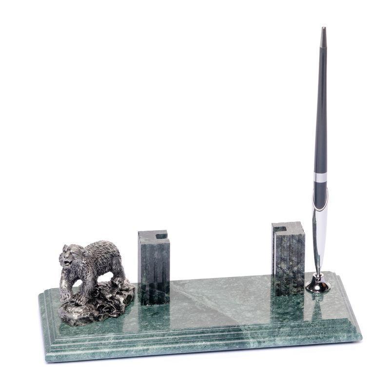 Підставка настільна для візиток і ручки 24х10см Ведмідь BST 540035 Мармурова