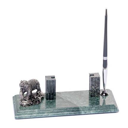 Підставка настільна для візиток і ручки 24х10см Ведмідь BST 540035 Мармурова, фото 2