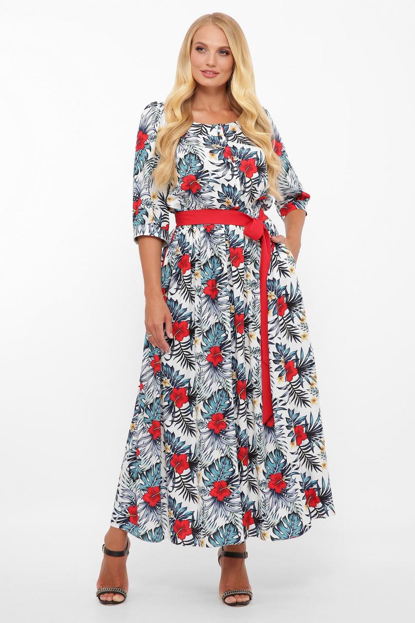 Платье  макси из принтованного штапеля Размеры 52, 54, 56, 58