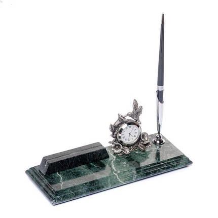 Візитниця настільна з годинником і ручкою мармурова 24х10 см BST 540045, фото 2