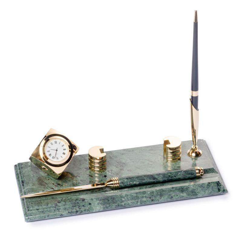 Настольная подставка визитница с ножиком для вскрытия писем часами и ручкой мраморная 24х10 см BST 540053