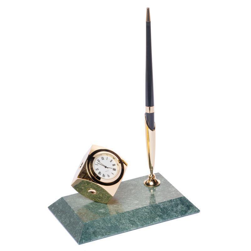 Подставка настольная с часами для ручки мраморная 16х10 см BST 540017